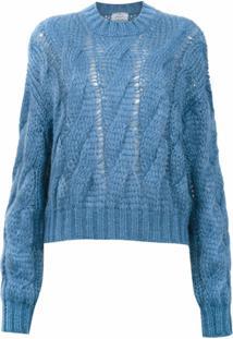 Prada Blusa De Tricô Com Lã - Azul