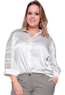 Camisa Estilo Boutique Cetim Roma Cinza Claro