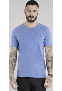 Camiseta Com Bolso Azul