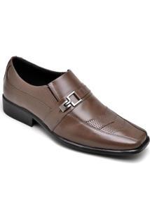 Sapato Social Em Couro D&R Shoes Masculino - Masculino-Café