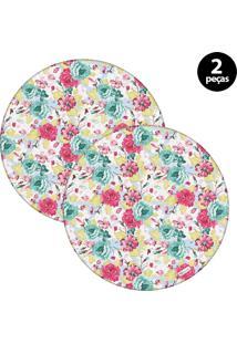 Sousplat Mdecore Floral 32X32Cm Azul 2Pçs