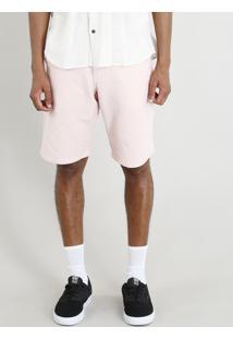 Bermuda Masculina Texturizada Com Bolsos Rosa Claro