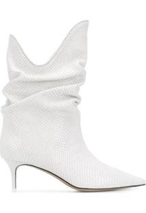 The Attico Ankle Boot Com Efeito De Pele De Cobra - Branco