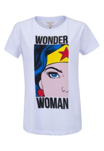 Camiseta Liga Da Justiça Mulher Maravilha Comics - Feminina - Branco