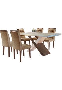 Conjunto De Mesa Para Sala De Jantar Com 6 Cadeiras Doris -Rufato - Animalle Chocolate / Off White / Café