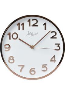 Relógio De Parede Rose Gold E Branco 25 Cm