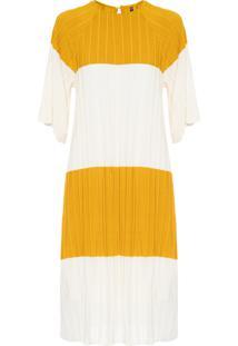 Vestido Plissado Stripes - Amarelo