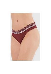 Calcinha Calvin Klein Underwear Tanga Barcode Vinho
