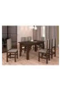 Conjunto De Mesa E Cadeira De Jantar 150X84 Cm Tabaco Bege