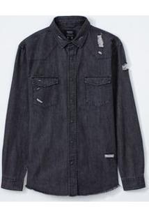 Camisa Manga Longa Em Jeans