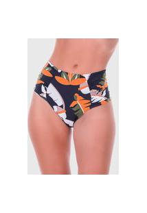 Calcinha Summer Soul Hot Pants Franzido Folhagem Preto