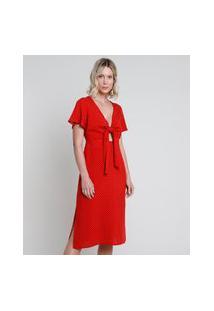 Vestido Feminino Midi Estampado De Poá Com Nó E Fenda Manga Curta Vermelho