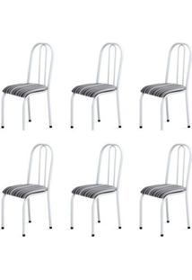 Kit 6 Cadeiras Baixas 0.104 Anatômica Branco/Listrado - Marcheli