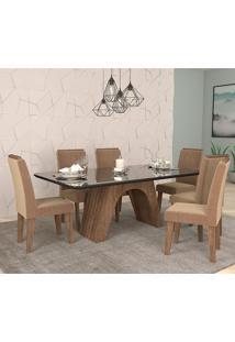 Conjunto De Mesa Clara Para Sala De Jantar Com 6 Cadeiras Taís Moldura -Cimol - Marrocos / Preto / Pluma
