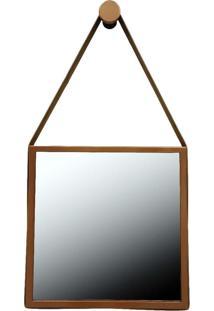 Espelho Adnet Quadrado Alça Em Couro Reduna