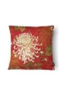 Capa Para Almofada Flores Veludo 43X43Cm Vermelho E Marrom