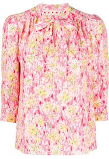 Marni Blusa De Seda Com Estampa Floral - Rosa