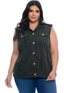 Colete Plus Size Cambos Cambos Verde Militar Sarja