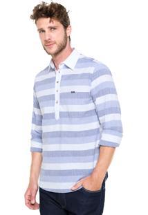 Camisa Triton Comfort Azul/Branca