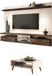Painel Tv Livin 2.2 Com Mesa De Centro Lucy Off White/Deck - Hb Móveis