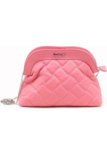 Bolsa Shoulder Bag Couro Matelassê Rosa Lírio - P