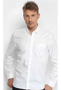 Camisa Social Lacoste Manga Longa Masculina - Masculino-Branco