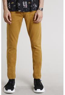 Calça De Sarja Masculina Slim Com Bolsos Caramelo