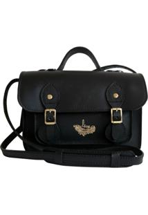 Bolsa Line Store Leather Satchel Mini Couro Preto Premium. - Kanui