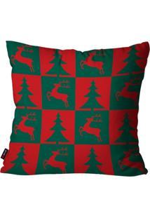 Capa De Almofada Pump Up Decorativa Avulsa Natalina Pinheiro De Natal E Rena Verde E Vermelho 45X45Cm