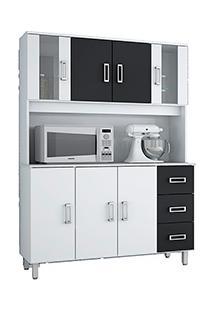 Armário De Cozinha Poliman Móveis Kit Ravena 7 Portas E 3 Gavetas Branco/Preto
