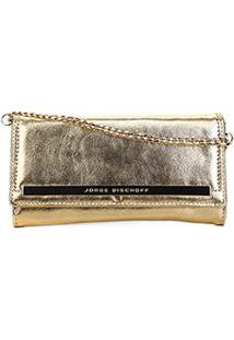 Bolsa Couro Jorge Bischoff Clutch Metalizada Corrente Feminina - Feminino-Dourado