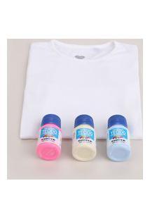 "Kit Infantil Para Tie Dye ""Faça Você Mesmo"" De Blusa Manga Curta Branca + Tintas Multicor"