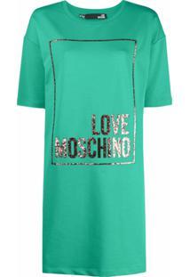 Love Moschino Camiseta Com Logo De Brilho - Verde