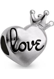 Pingente Life Coração Com Coroa