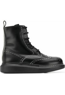 Alexander Mcqueen Ankle Boots Com Salto 40Mm - Preto