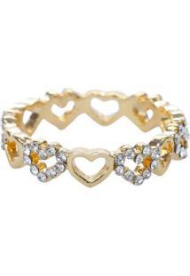 Anel Dourado De Mini Corações Com Strass Tam. 17 D