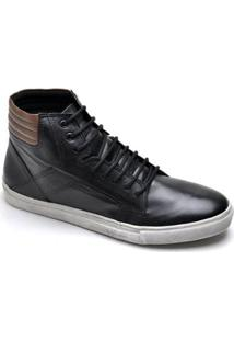 Sapatênis Top Franca Shoes Casual Masculino - Masculino-Preto