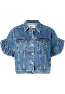 Msgm Short Sleeved Denim Jacket - Azul