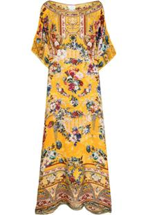 Camilla Vestido Longo Com Estampa Floral De Seda - Amarelo