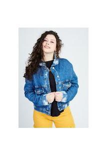 Jaqueta Jeans Bomber Puídos Azul Médio Gang Feminina