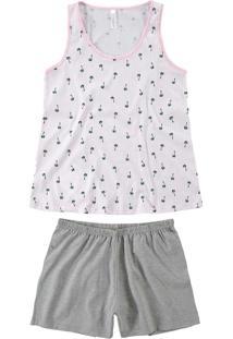 Pijama Rosa Coqueiros Em Malha Mescla