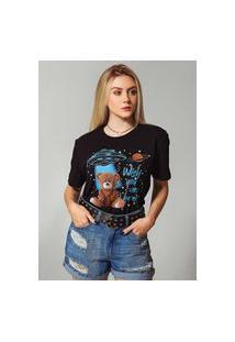 T-Shirt Ursinho Espacial Preto