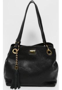 Bolsa Em Couro Com Bag Charm- Preta & Dourada- 24X32Gregory