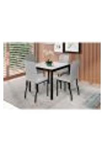 Conjunto De Mesa De Jantar Com Tampo De Vidro Off White Denver E 4 Cadeiras Napier Linho Cinza
