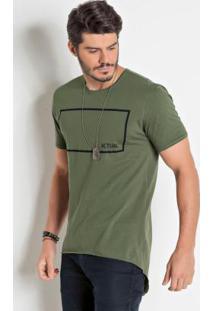 Camiseta Mullet Com Abertura Verde Militar