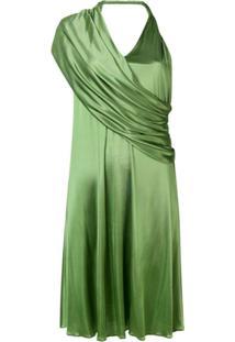 Lanvin Vestido Drapeado Decote Em V - Verde