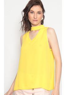 Blusa Com Recorte Vazado - Amarela - Linho Finolinho Fino