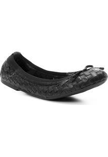 Sapatilha Couro Shoestock Elástico Trançado Feminina - Feminino-Preto