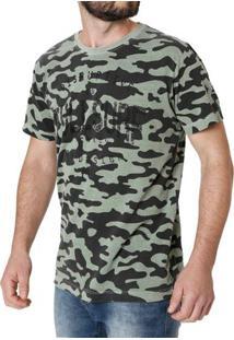 Camiseta Manga Curta Masculina Camuflada Verde