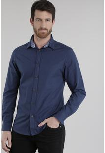 Camisa Slim Estampada De Poá Azul Marinho